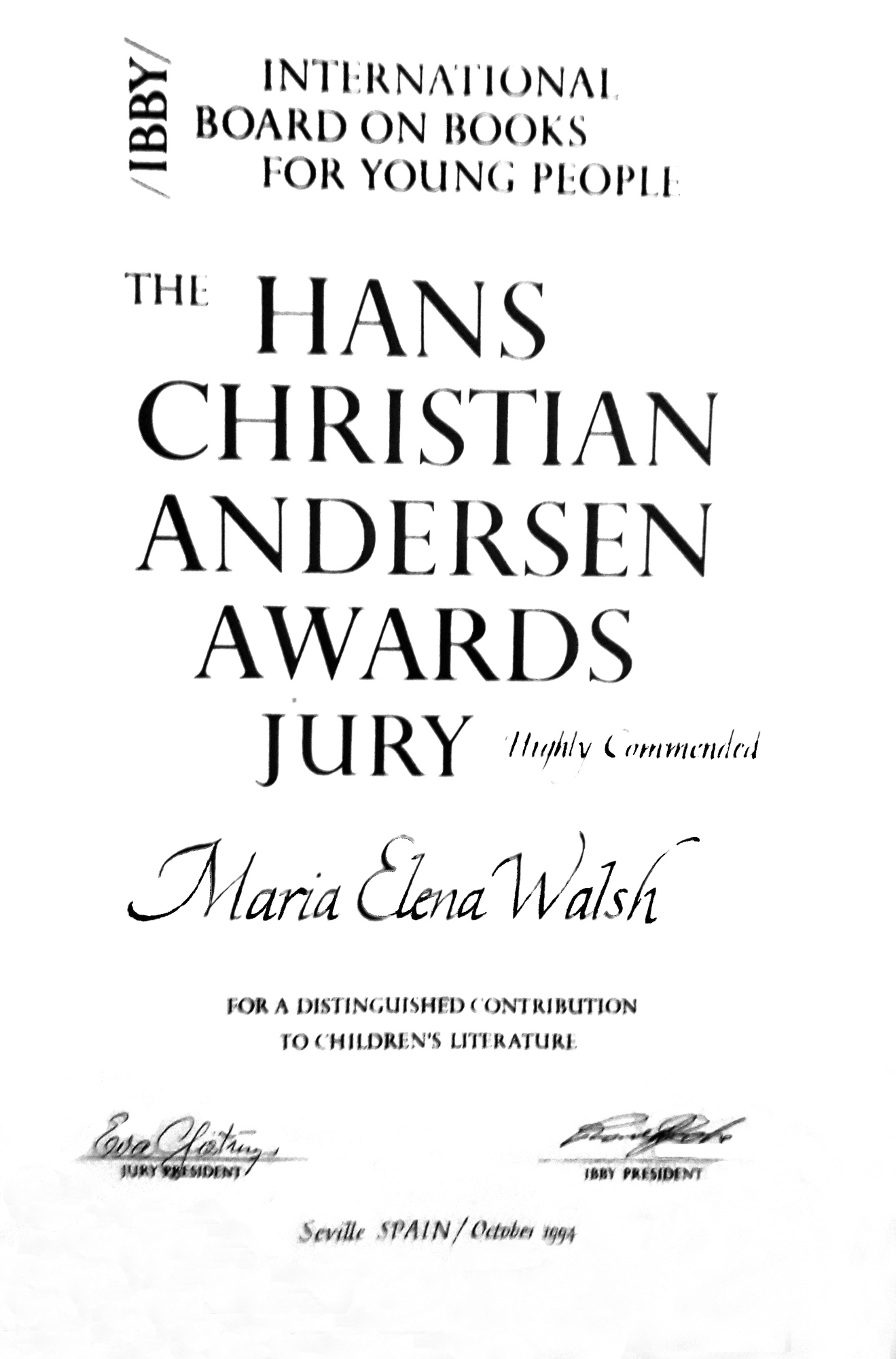 1991 - Highly Commended - Premio Christian Andersen